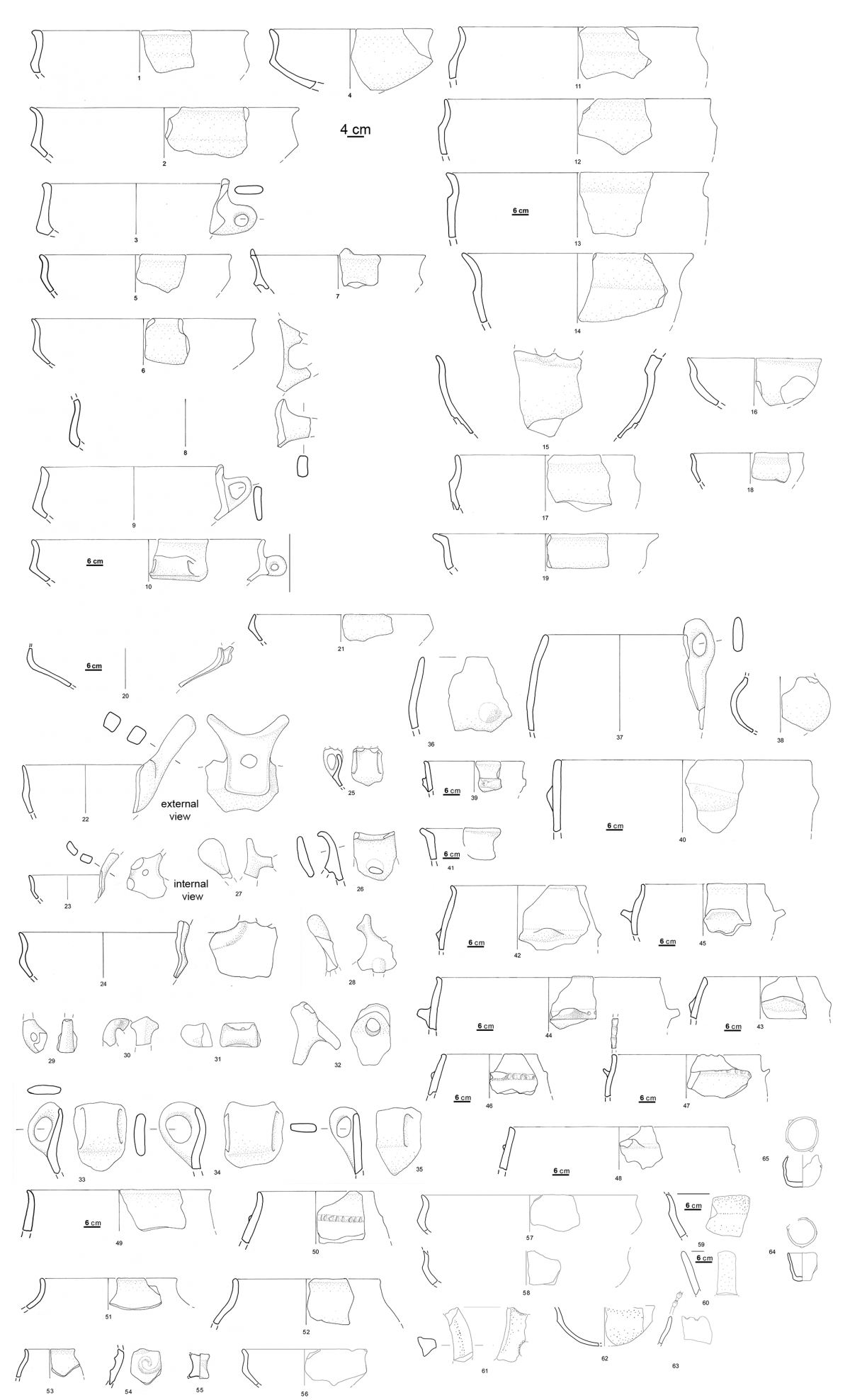 Caprolace, potsherds collected by Liboni and Alessandri around the two islands in the Caprolace lake (after Alessandri 2007)