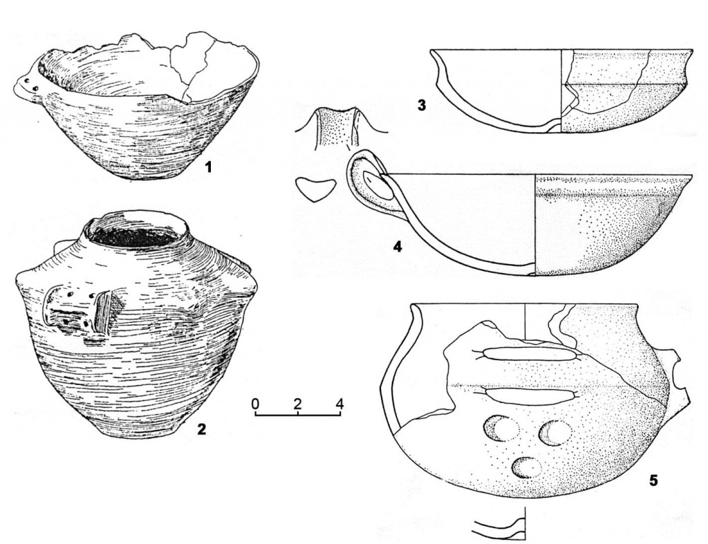 Caterattino, potsherds collected between the lakes of Caterattino and Caprolace (1-2) and stored in the Soprintendenza (3-5) (after Guidi 1981)