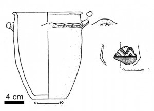 Tratturo Caniò, the dolium from the sandy layer and an appennine sherd (after Rosini 1996b)