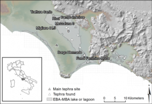 Tephra sites in the Agro Pontino and Fondi basin. A: higher Pleistocene marine terraces, B: low-lying Agro Pontino Graben, C: Fondi basin