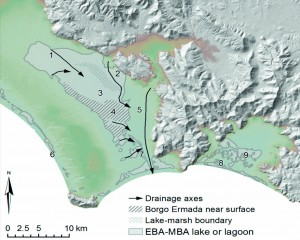 Depositional units. 1: Fluviodeltaic plain, 2: aerobic lake, 3: anaerobic lake/marsh, 4: shallow lake/transitional ridge, 5: Amaseno basin, 6: Coastal lagoons, 7: Dissected tributary streams, 8: Fondi coastal lagoons, 9: Fondi dissected streams