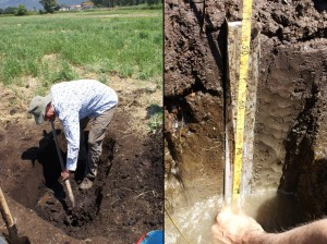 Left: digging a pit to reveal the profile for sampling. Right: a monolith in a cleaned section